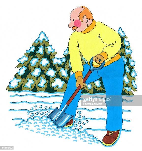mr. shoveling snow - snow shovel stock illustrations