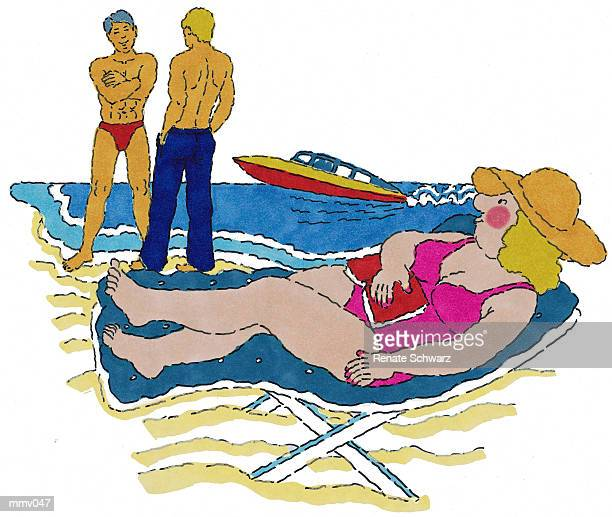 mrs. admiring men on beach - motorboating stock illustrations, clip art, cartoons, & icons