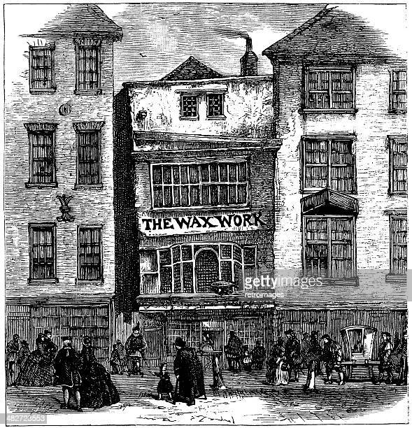 Mrs Salmon's Waxwork, Fleet Street, London (engraved illustration)