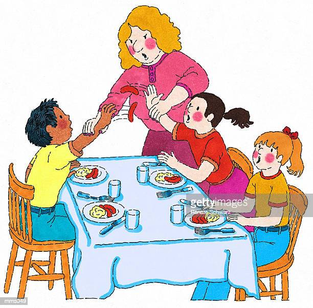 Eating Table Cartoon: Kid Eating Table Cartoon Stock Illustrations And Cartoons