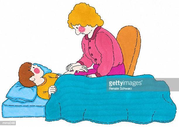 mrs. tending to sick student - ナースステーション点のイラスト素材/クリップアート素材/マンガ素材/アイコン素材