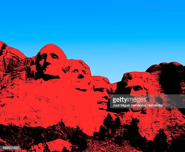 mt. rushmore national memorial illustration - us president stock illustrations