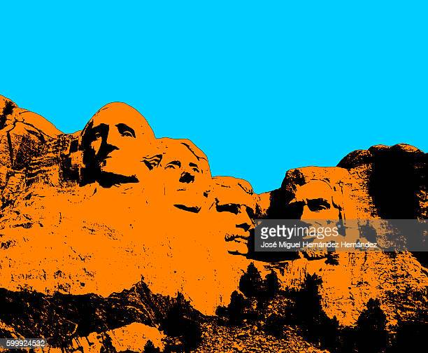 mt. rushmore national memorial illustration - thomas jefferson stock illustrations, clip art, cartoons, & icons