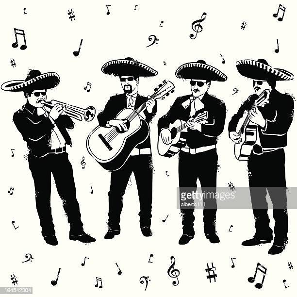 mucho mariachi merryment - mariachi stock illustrations