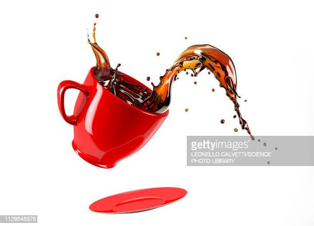 mug with coffee splash, illustration - food and drink stock illustrations