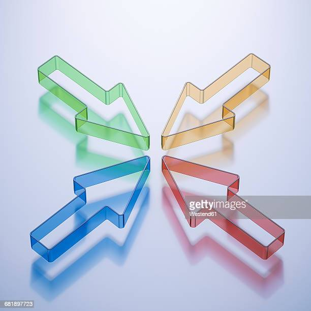 muli colored arrow pointing at center - four objects stock illustrations