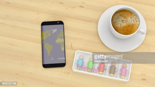 multi racial manikins on a desk with cup of coffee and smartphone - mobile app stock illustrations