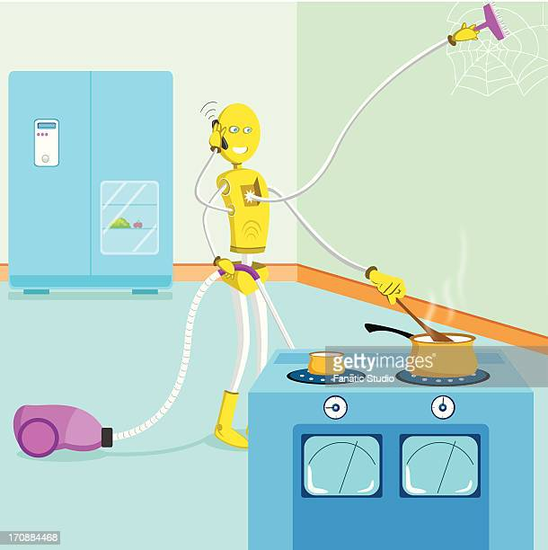 Multi-armed robot cleaning house, cooking food and talking on a mobile phone