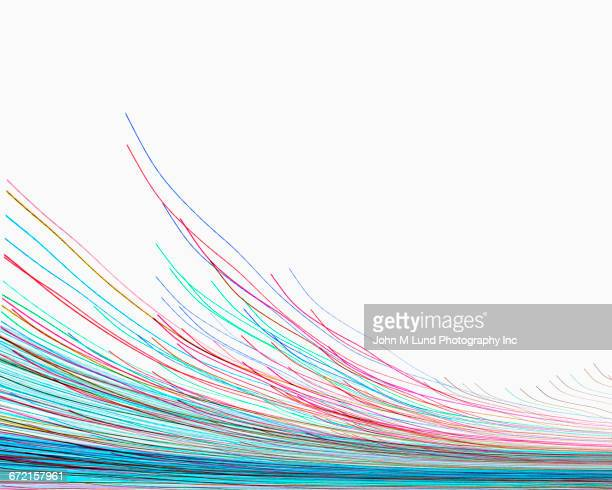 Multicolor curving lines flowing on white background