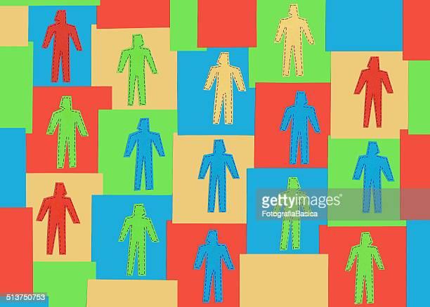 Multicolored hombres en mínimos cuadrados