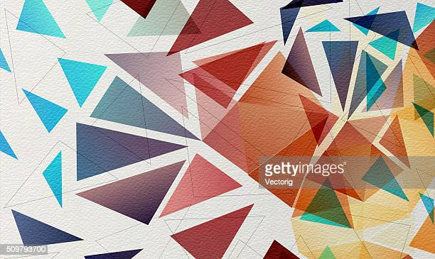 Multicolored mosaic on watercolor paper Background