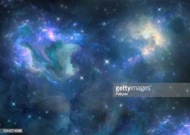 multicolored painted nebula - ethereal stock illustrations