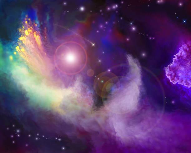 multicolored painted nebula - fantasy stock illustrations