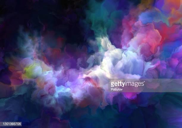 illustrazioni stock, clip art, cartoni animati e icone di tendenza di multicolored painted nebula - onirico