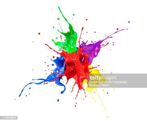 multicolour paint explosion, illustration - purple stock illustrations