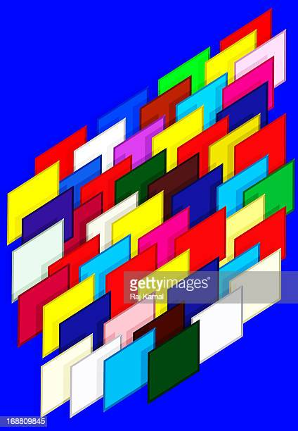 multi-coloured parallel squares. abstract design - parallel stock illustrations, clip art, cartoons, & icons