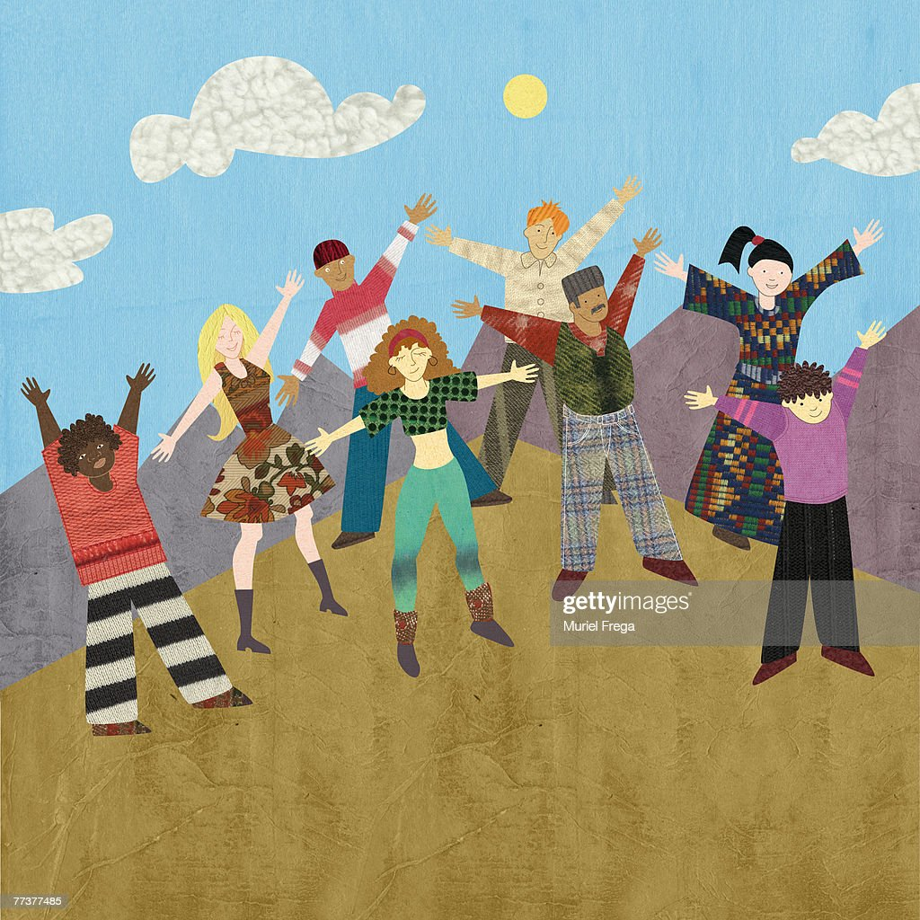 Multicultural people standing on a mountaintop : Illustration