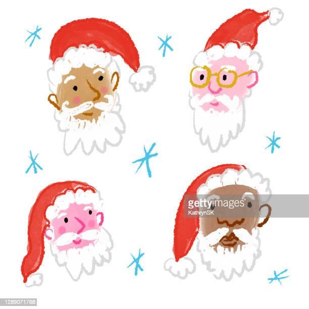 multicultural santa faces - kathrynsk stock illustrations
