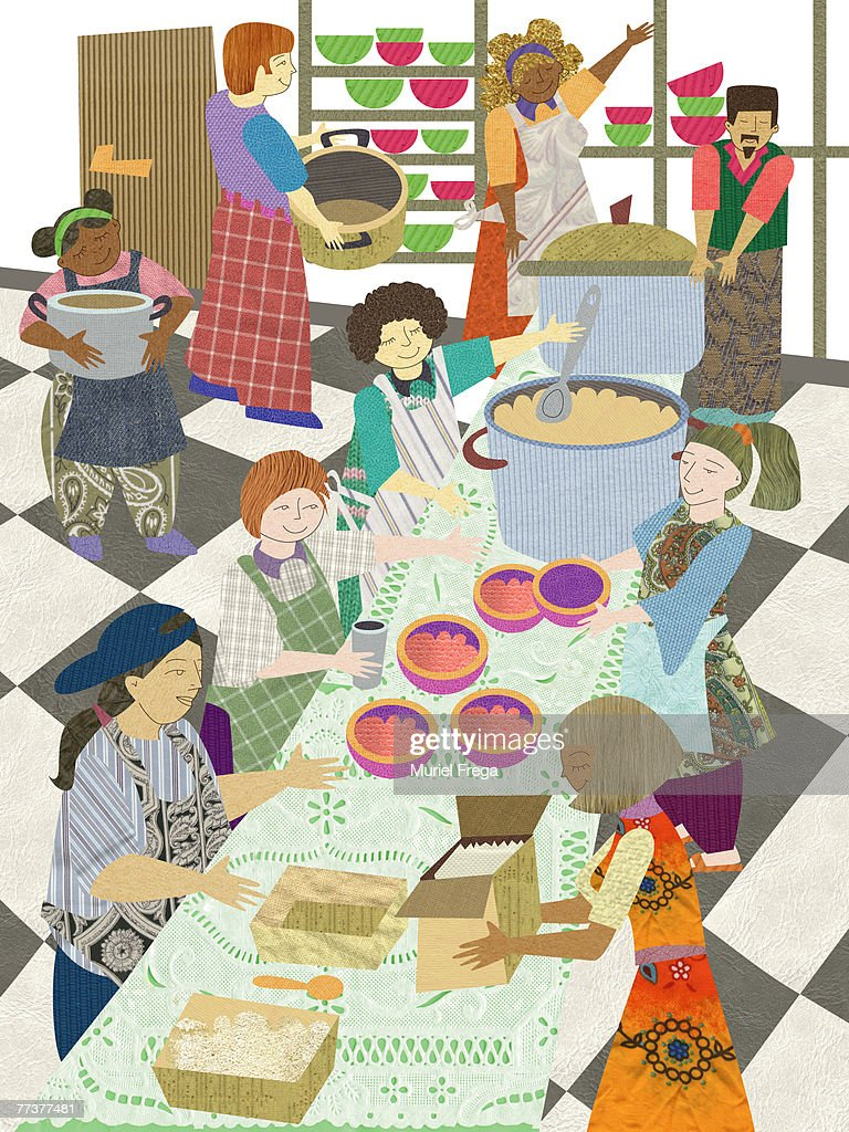 Multicultural volunteers at a community meal : Illustration