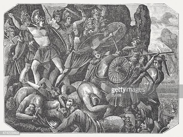 multi-day battle of thermopylae (480 bc), wood engraving, published 1864 - sparta greece stock illustrations, clip art, cartoons, & icons