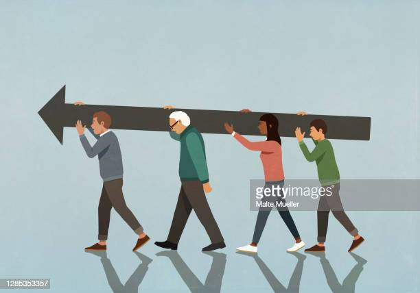 multiethnic community carrying large arrow - opportunity stock illustrations