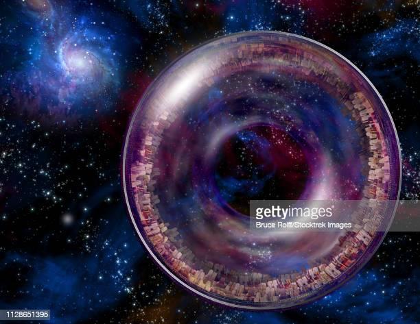 ilustraciones, imágenes clip art, dibujos animados e iconos de stock de multi-generational interstellar ship in the expanse of space - galaxiaespiral