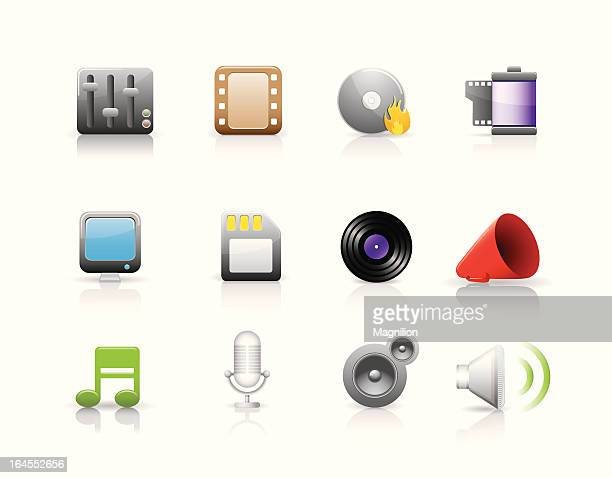 multimedia icon set - microphone stand stock illustrations