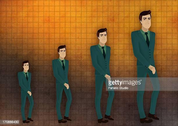ilustraciones, imágenes clip art, dibujos animados e iconos de stock de multiple exposure of an executive in chronological order depicting the concept of performance growth - doble exposicion negocios