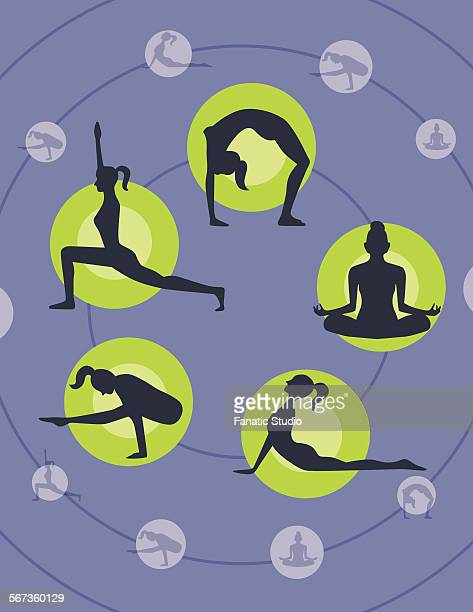multiple image of different yoga poses - dipping stock illustrations, clip art, cartoons, & icons