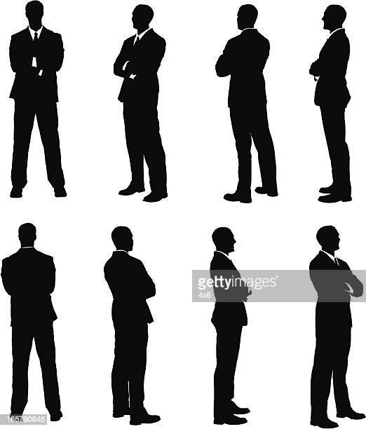 複数のイメージのビジネスマン、彼は両腕を組む