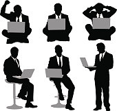 Multiple images of a businessman with laptop