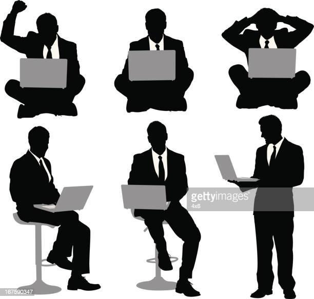 複数のイメージを、ビジネスマンとラップトップ