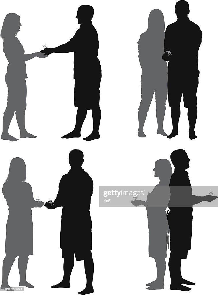 Várias imagens de um casal com mudas : Ilustração