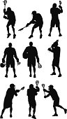 Multiple images of a lacrosse player