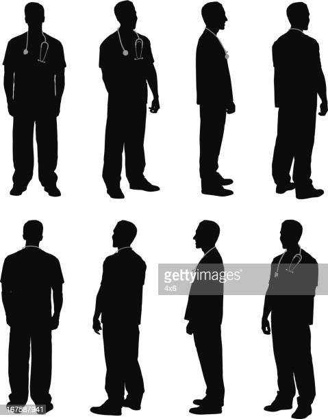 multiple images of a male doctor - surgeon stock illustrations