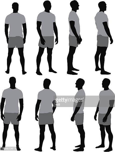 multiple images of a man - shorts stock illustrations