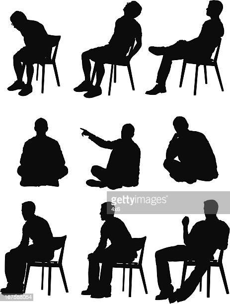 multiple images of a man in different activities - chair stock illustrations