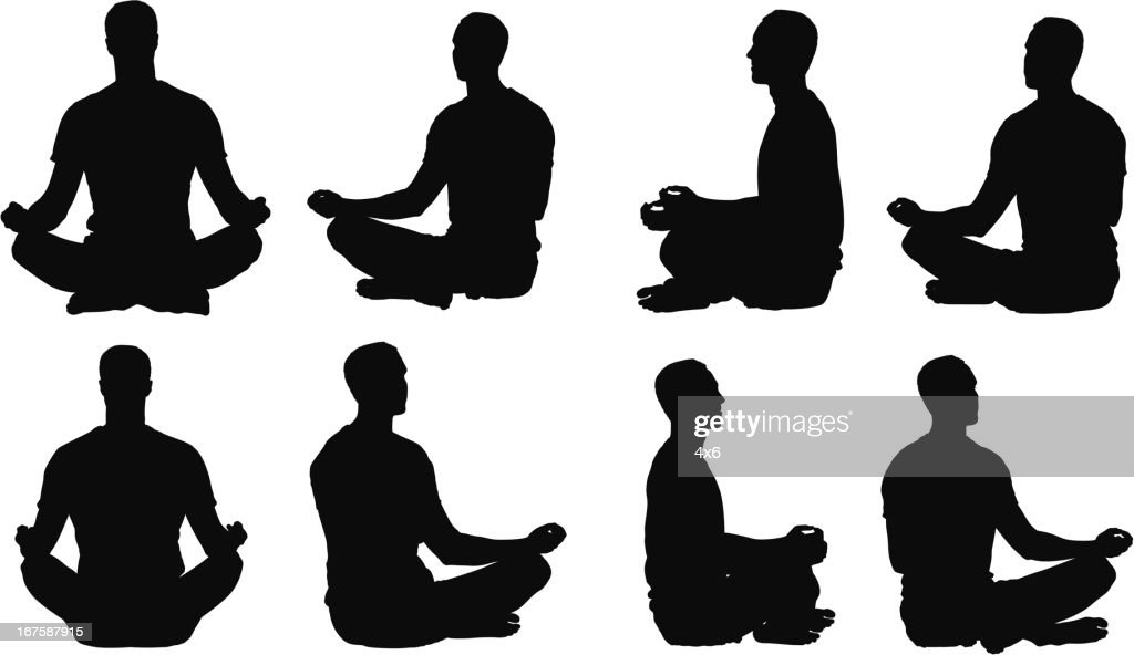 Multiple images of a man meditating