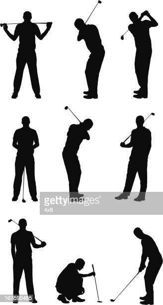 multiple images of a man playing golf - golf swing stock illustrations, clip art, cartoons, & icons