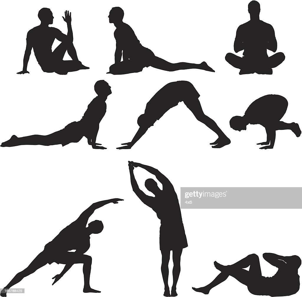 Multiple images of a man practicing yoga