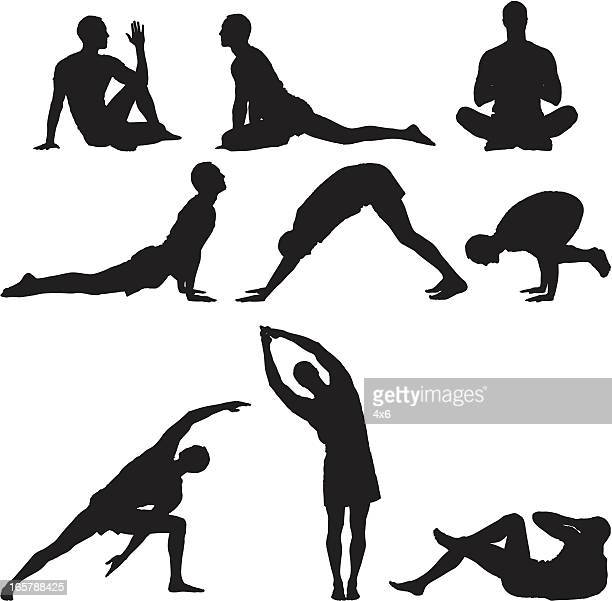 multiple images of a man practicing yoga - yoga stock illustrations