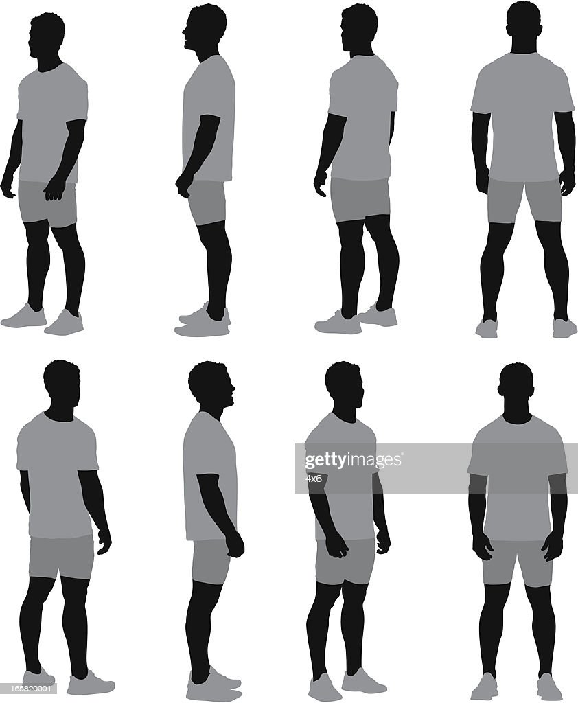 Multiple images of a man standing : stock illustration