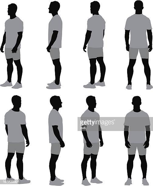 multiple images of a man standing - side view stock illustrations