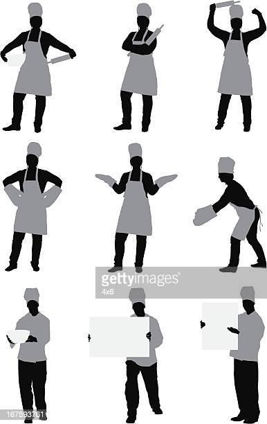複数のイメージのシェフ - 料理人点のイラスト素材/クリップアート素材/マンガ素材/アイコン素材