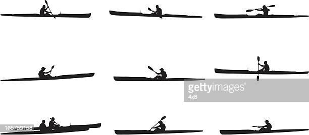 Multiple images of kayaking