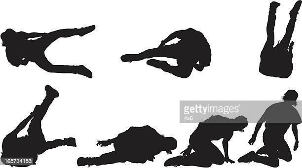 multiple images of man falling on the ground - headwear stock illustrations