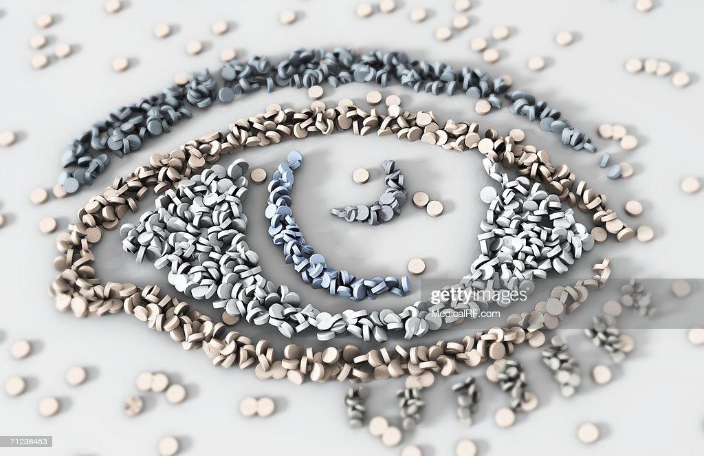 Multiple pills in the shape of an eye. : stock illustration
