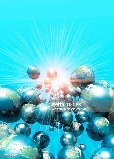multiple universes, conceptual artwork - victor habbick stock illustrations