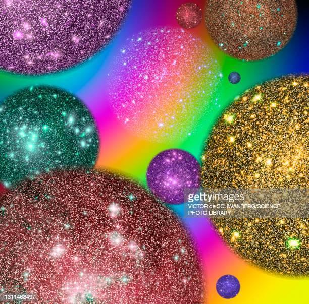 multiverse, conceptual illustration - physics stock illustrations