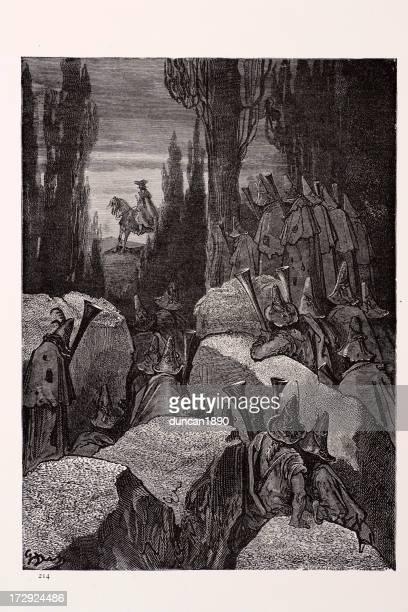munchausten amoung the brigands - cavalier cavalry stock illustrations, clip art, cartoons, & icons
